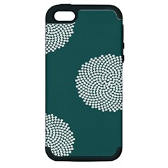 Green Circle Floral Flower Blue White Apple iPhone 5 Hardshell Case (PC+Silicone)