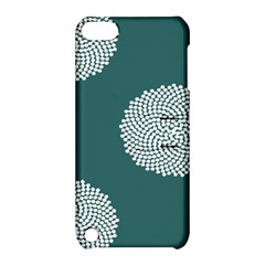 Green Circle Floral Flower Blue White Apple Ipod Touch 5 Hardshell Case With Stand