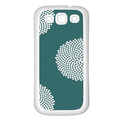 Green Circle Floral Flower Blue White Samsung Galaxy S3 Back Case (White)