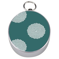 Green Circle Floral Flower Blue White Silver Compasses