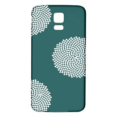 Green Circle Floral Flower Blue White Samsung Galaxy S5 Back Case (White)