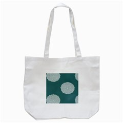 Green Circle Floral Flower Blue White Tote Bag (White)