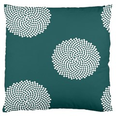 Green Circle Floral Flower Blue White Large Flano Cushion Case (Two Sides)