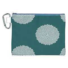 Green Circle Floral Flower Blue White Canvas Cosmetic Bag (XXL)