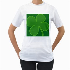 Leaf Clover Green Women s T Shirt (white) (two Sided)