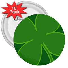 Leaf Clover Green 3  Buttons (10 pack)
