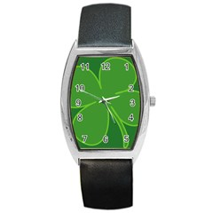 Leaf Clover Green Barrel Style Metal Watch