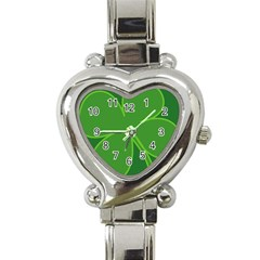 Leaf Clover Green Heart Italian Charm Watch