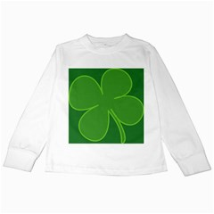 Leaf Clover Green Kids Long Sleeve T Shirts