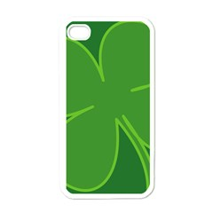 Leaf Clover Green Apple iPhone 4 Case (White)