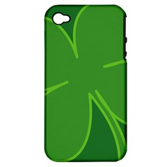 Leaf Clover Green Apple iPhone 4/4S Hardshell Case (PC+Silicone)