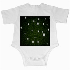 Graphics Green Leaves Star White Floral Sunflower Infant Creepers