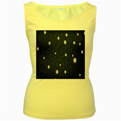 Graphics Green Leaves Star White Floral Sunflower Women s Yellow Tank Top