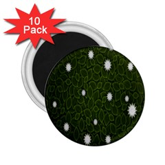 Graphics Green Leaves Star White Floral Sunflower 2.25  Magnets (10 pack)