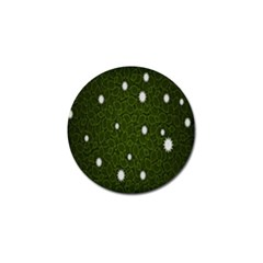 Graphics Green Leaves Star White Floral Sunflower Golf Ball Marker