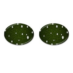 Graphics Green Leaves Star White Floral Sunflower Cufflinks (oval)