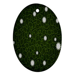Graphics Green Leaves Star White Floral Sunflower Oval Ornament (Two Sides)