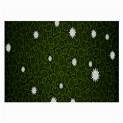 Graphics Green Leaves Star White Floral Sunflower Large Glasses Cloth