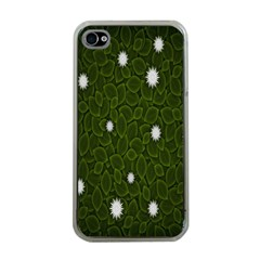 Graphics Green Leaves Star White Floral Sunflower Apple iPhone 4 Case (Clear)