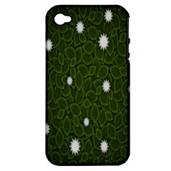 Graphics Green Leaves Star White Floral Sunflower Apple iPhone 4/4S Hardshell Case (PC+Silicone)