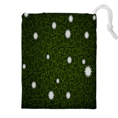 Graphics Green Leaves Star White Floral Sunflower Drawstring Pouches (XXL)