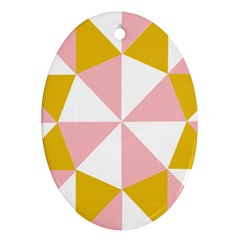 Learning Connection Circle Triangle Pink White Orange Ornament (oval)