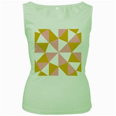 Learning Connection Circle Triangle Pink White Orange Women s Green Tank Top