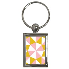 Learning Connection Circle Triangle Pink White Orange Key Chains (Rectangle)