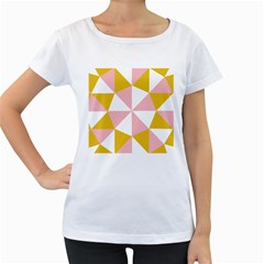 Learning Connection Circle Triangle Pink White Orange Women s Loose-Fit T-Shirt (White)