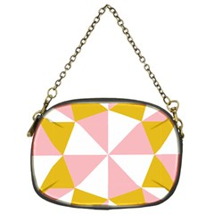 Learning Connection Circle Triangle Pink White Orange Chain Purses (One Side)
