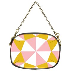 Learning Connection Circle Triangle Pink White Orange Chain Purses (Two Sides)