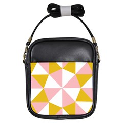 Learning Connection Circle Triangle Pink White Orange Girls Sling Bags