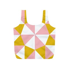 Learning Connection Circle Triangle Pink White Orange Full Print Recycle Bags (S)