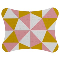 Learning Connection Circle Triangle Pink White Orange Jigsaw Puzzle Photo Stand (Bow)