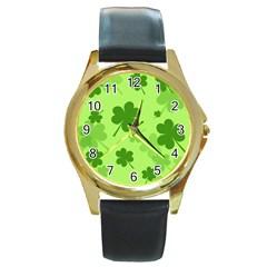 Leaf Clover Green Line Round Gold Metal Watch
