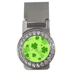 Leaf Clover Green Line Money Clips (cz)