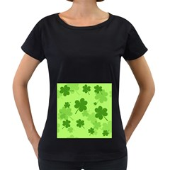 Leaf Clover Green Line Women s Loose Fit T Shirt (black)