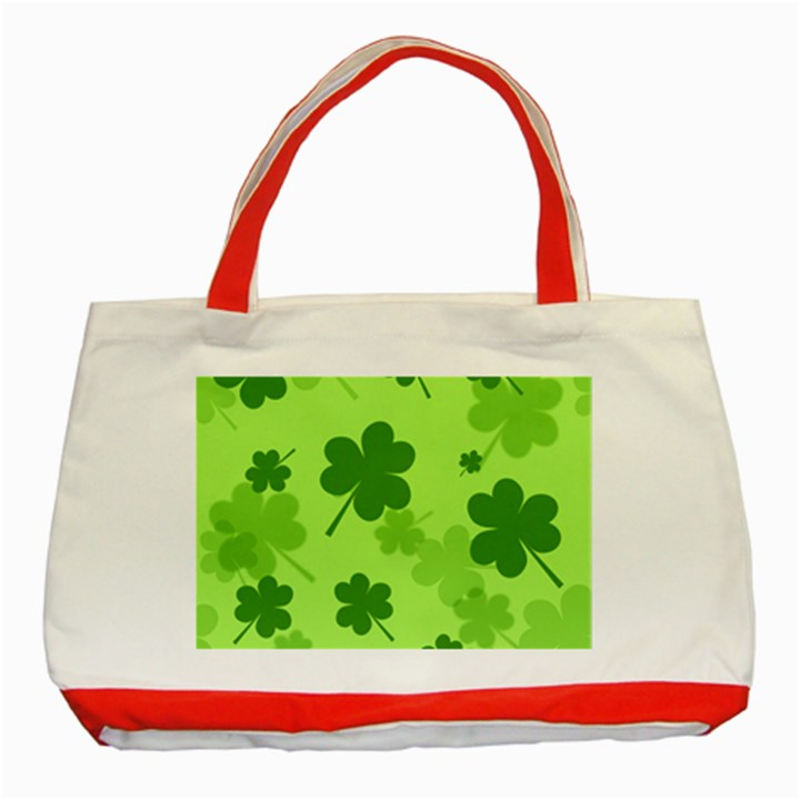 Leaf Clover Green Line Classic Tote Bag (Red)