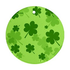 Leaf Clover Green Line Round Ornament (two Sides)