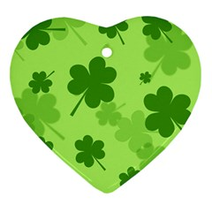 Leaf Clover Green Line Heart Ornament (Two Sides)