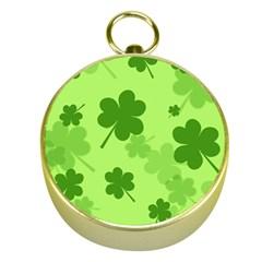 Leaf Clover Green Line Gold Compasses