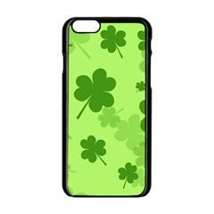 Leaf Clover Green Line Apple iPhone 6/6S Black Enamel Case