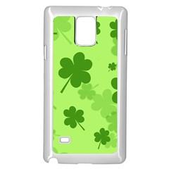 Leaf Clover Green Line Samsung Galaxy Note 4 Case (White)