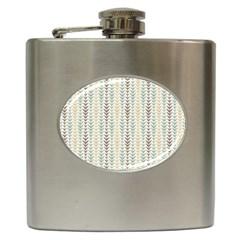 Leaf Triangle Grey Blue Gold Line Frame Hip Flask (6 oz)