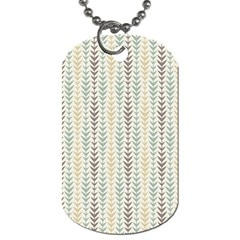 Leaf Triangle Grey Blue Gold Line Frame Dog Tag (Two Sides)