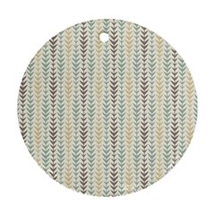 Leaf Triangle Grey Blue Gold Line Frame Round Ornament (two Sides)