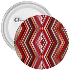 Indian Pattern Sweet Triangle Red Orange Purple Rainbow 3  Buttons