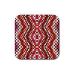 Indian Pattern Sweet Triangle Red Orange Purple Rainbow Rubber Coaster (square)
