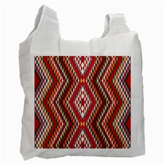 Indian Pattern Sweet Triangle Red Orange Purple Rainbow Recycle Bag (two Side)