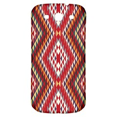 Indian Pattern Sweet Triangle Red Orange Purple Rainbow Samsung Galaxy S3 S III Classic Hardshell Back Case
